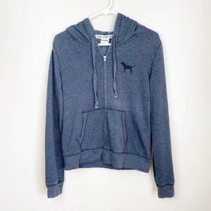 🌻 PINK   Classic Gray Zip Up Logo Hoodie Sweater